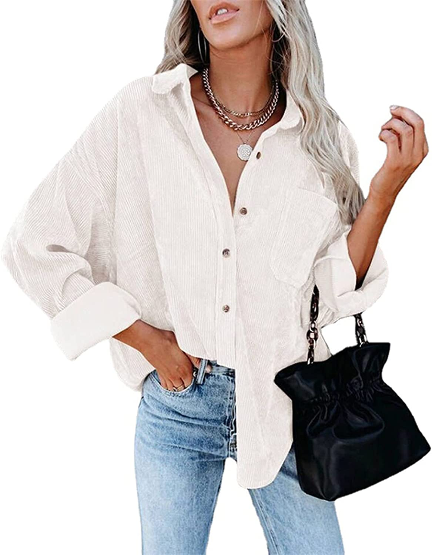 SAMACHICA Womens Corduroy Long Sleeve Button Down 2021 new Casual Seattle Mall Shirts