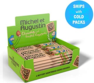 Michel et Augustin Chocolate French Cookie Squares - Chocolate Hazelnut Pure Butter Shortbread - 18 Count