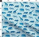 Blau, Wild, Elefant, Zebra, Giraffe, Junge Stoffe -