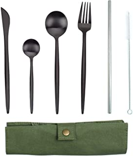 Portable Flatware Set, Black Stainless Steel Cutlery Set Fork Spoon Knife Straw 6 Piece Reusable Utensils with Case for Home Use/Travel/Camping/hiking Flatware Set in Bag(Black)