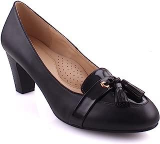 "Unze Women ""ALEA"" Tassel Accented Office Wide Toe Formal Patent Vamp Dressy Evening Block Heel Ladies Pump Mid- High Courts UK Size 3-8 - GP91543-74"