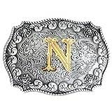 Bai You Mei Letra inicial del alfabeto Hebilla del cinturón de la cabeza Hombres de metal Western Cowboy hebillas de cinturón N