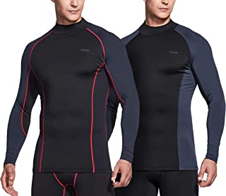 Men's (Pack of 1,2) Thermal Wintergear Compression Baselayer Mock Long Sleeve Shirt