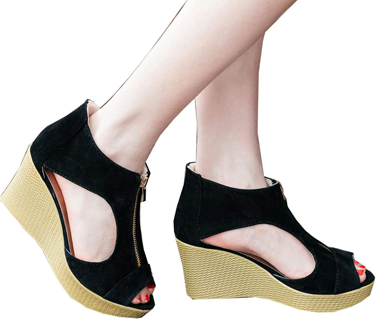 Women shoes Summer Platform Wedges Vintage High Heels Open Toe with Zippers Beach Breathable Slippers Plus Size 35-38