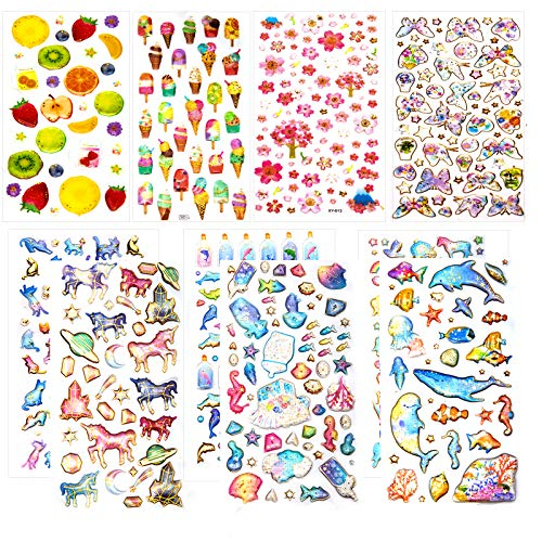 TOYMIS 3D Stickers for Kids & Toddlers, 500+ Puffy Stickers, 10 Different Sheets, Epoxy Stickers for Scrapbooking Journal Album, Including Cats, Dolphins, Butterfly, Ice Cream, Sakura, Ocean Animals