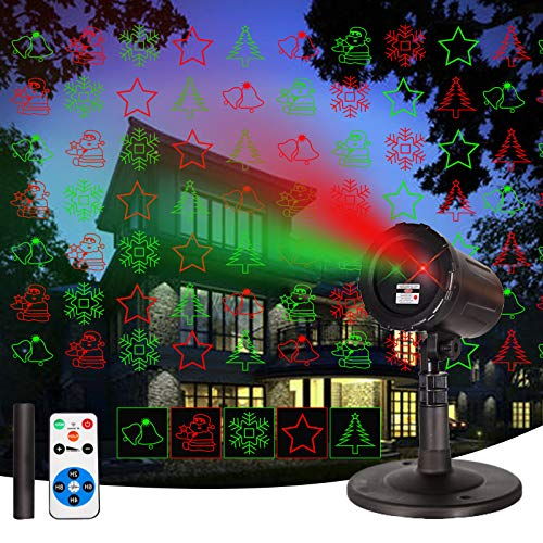 Christmas Laser Projector Lights Led Landscape Spotlight Star Laser Lights Show Outdoor Decorations Waterproof Red and Green with Wireless Remote for XmasParties GardenDecoration `