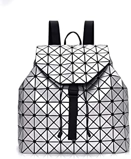 Sijiake Ms. backpack Lingge elegant chic fashion backpack/leisure Lingge package/Travel Backpack noble (color: pink), color: black inside stylish and practical coat (color: white)