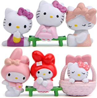 6pcs Cute Animal Cat Characters Figurines Toy Kitty Figures Toy Set Mini Figure Collection Playset, Fairy Garden Party Dec...