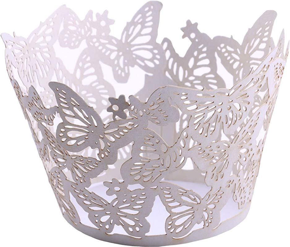 DriewWedding 50PCs Butterfly Pattern Hollow Artistic Bake Cake Cupcake Wrappers Paper Cups Liner For Wedding Birthday Tea Party Baby Shower Food Decoration White