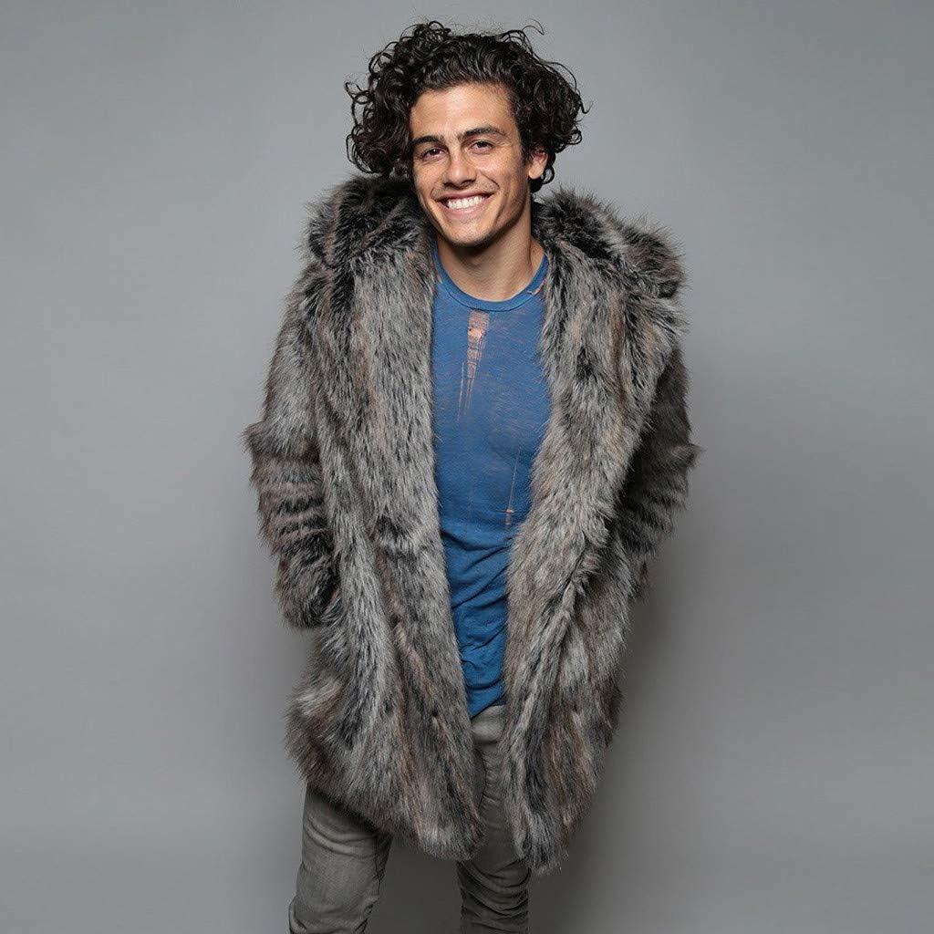 Bolayu Men's Wolf Faux Fur Parka Outwear Hooded Oversize Furry Trench Cardigan Coat Plush Jaket Lightweight Winter Warm