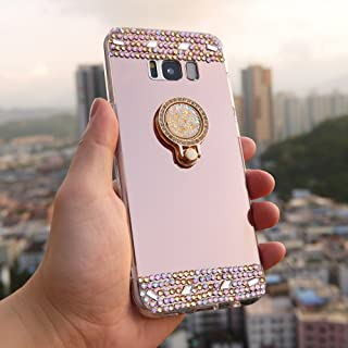 DMaos Galaxy Note 8 Mirror Case for Women, Sparkly Diamond Cover with Kickstand Ring Holder, for Samsung Colorful Rhinestone Case with Stand Holder (Note8, Rose Gold)