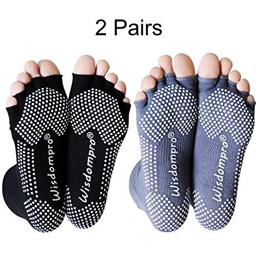 2 Pairs Toeless Half Toe Yoga Socks with Anti Slip Grip for Women & Men (BG/ML)