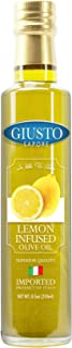 Giusto Sapore Lemon Infused Italian Olive Oil - Extra Virgin 8.5oz - Premium Superior Quality Gluten Free Gourmet Brand - Imported from Italy and Family Owned