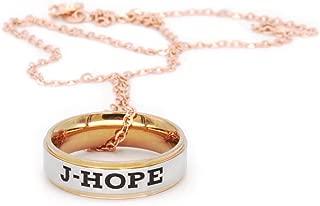 Fanstown Kpop BTS Bangtan Boys Finger Ring Engraved Double Deck Ring Member Name and Team Logo Design Rose Golden Necklace
