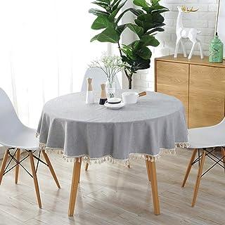 Meiosuns Color Sólido Borla Mantel Mantel Redondo Algodón Lino Mantel Adecuado para la Decoración de la Cocina del Hogar, Varios Tamaños(Diámetro 150 cm, Gris Claro)