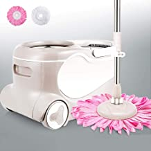 Floor Mop Hand-Free Household Double Drive Wet and Dry Clean Microfiber Spin Mop Bucket Set for Cleaning Home/Kitchen and ...