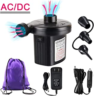 YANX Electric Air Pump, 110V AC/12V DC Portable Air Mattress Pump Two-Way Universal Inflator Electric Pump for Inflatables Pool, Airbeds, etc with 3 Nozzles and 1 Storage Bag