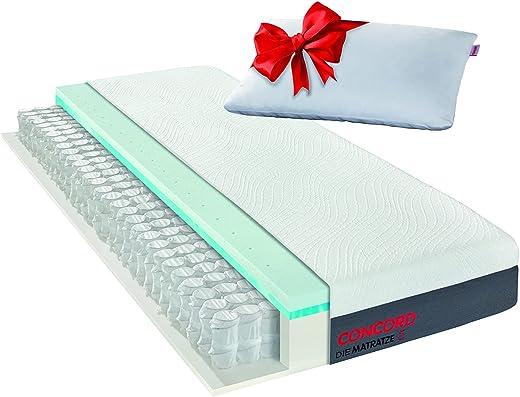 Matratzen Concord DIE MATRATZE Taschenfederkernmatratze mit Duo Topper und gratis Kissen 80×200, Atmungsaktiv, Öko Tex