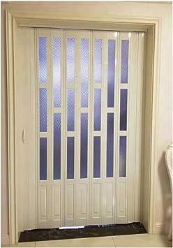 White Folding Door PVC Washable Sliding Panel Divider Adjusted Living Room