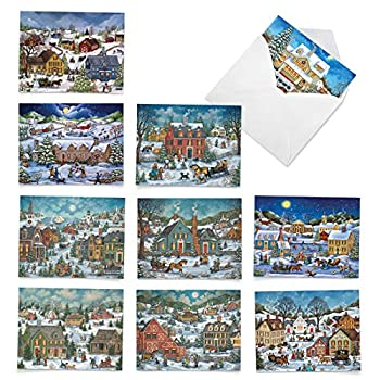 The Best Card Company - 10 Retro Merry Christmas Cards Bulk - Vintage Holiday Notecards with Envelopes  4 x 5.12 Inch  - Old Town Christmas M5080XSG-B1x10