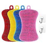 Pveath Esponja de Silicona, 4 esponjas de Silicona con Forma de Hueso, Cepillo para Lavar Platos y 2 Conectores, Limpieza de Cocina, esponjas sostenibles