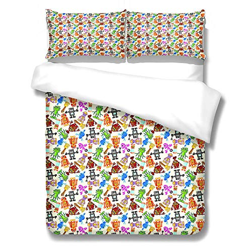 iCoCofly Bedding 3 Piece Set - Easy Care - 1 quilt cover with 2 Pillowcase& Shrinkage and Fade Resistant for Kids Teens and Adults Soft Microfiber Hypoallergenic Bedding Set - Painted robot