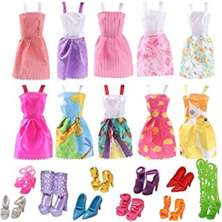 Doll Clothes for Barbie Dresses Gown with Shoes Outfit Set for Xmas Birthday Gift(10 Pack) - coolthings.us