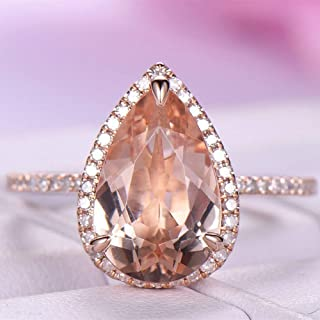 Yuren Gorgeous Wedding Rings for Women Rose Gold Filled Pear Cut Crystal Size 6-10 (US Code 7)