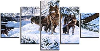 Printed poster wall modular snow canvas art picture home decoration 5 board animal wolf living room modern frame painting