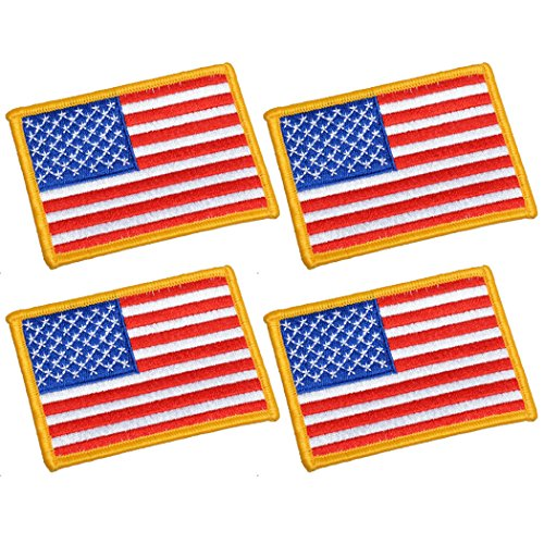 UNIS 4 Pack, 3.5 X 2.5. Inch American US Flag Embroidered Cloth Sew on Iron on Patch Golden Yellow Border.