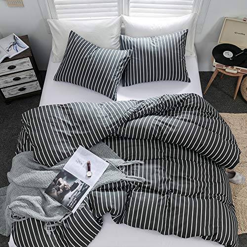 Argstar 3 Pcs 100% Cotton Duvet Covers Queen Size, Striped Bedding Sets, Dark Grey and White Geometric Comforter Cover, 1 Duvet Cover and 2 Pillow Cases, for Men Women Boys and Girls