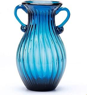 sunkey Hand Blown Glass Vase Double Ear Elegant Flower Vase for Centerpiece Home Decor Navy Blue