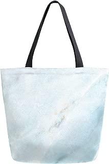Canvas Tote Bag Blue Ink Flower Canvas Bookbag Shoulder Handbag for Women Men