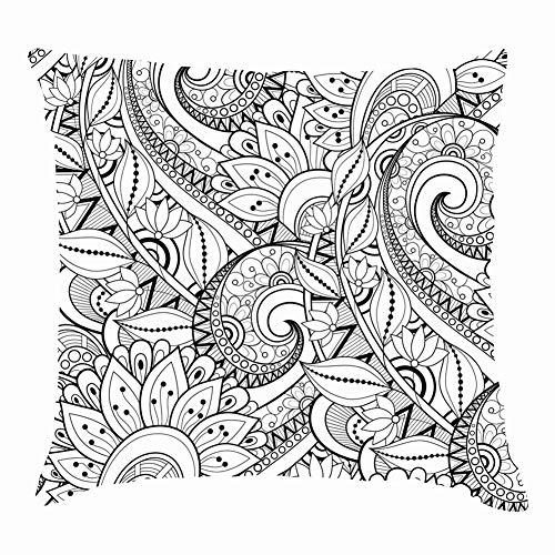 "dfgi Monochrome floral handnature Throw Pillow Covers Cotton Linen Cushion Cover Cases Pillowcases Sofa Home Decor 18""x 18""Inch (45 x 45cm)"