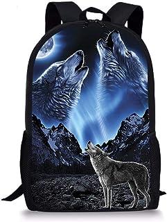 doginthehole Wolf Print Kids School Backpacks Bookbag Lightweight Travel Daypack Laptop Knapsack for Teens Boys Girls,Blue