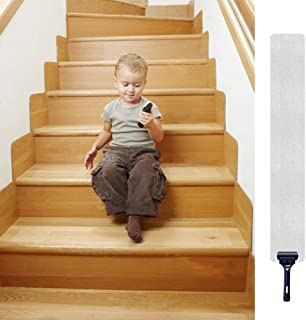 """32""""x 4"""" Non-Slip Stair Treads Tape (15-Pack) - Tingpo Pre-Cut Clear Anti-Slip Safety Indoor Strips with Roller for Stair Treads, Floors, Steps Supplies"""
