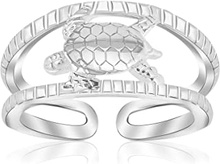 Sterling Silver Rhodium Plated Open Toe Ring with a Turtle Accent