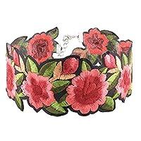 チョーカーネックレス刺繍フラワーヴィンテージフラワーチョーカーレースゴシック女性用女の子(刺繍)