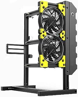 1 GPU PC öppet Fodral, DIY Mini öppen Aluminiumlegering Ram med 2 Fläktar, öppen Ram Design Har Bra Värmeavledning Prestan...