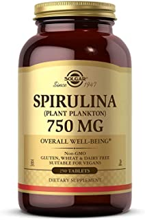 Solgar Spirulina 750 mg, 250 Tablets - Plant Plankton - Overall Well-Being - Immune Support - Super-Green - Non-GMO, Vegan...