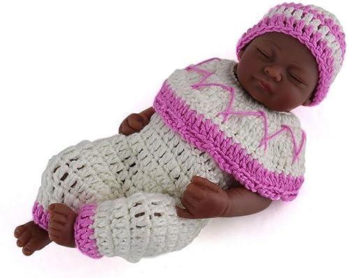 SHTWAD Realistische Reborn Baby Puppe SchwarzHaut Nette Auge Geschlossen Kind Bad Spielen Spielzeug Voller Silikon Fotografie Requisiten 28cm