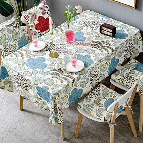 HTUO Tablecloth Christmas Decoration Modern Dining Table Cotton Tablecloth Dust Proof Table Cover Square Geometric Pattern Cover Towel Coffee Table Kitchen Dinning Party 100 * 140cm