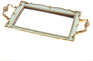 Memorecoder Resin Rectangle Food Serving Mirror Tray, Makeup and Jewelry Glass Organizer, Vanity Tray for Dresser, Bathroom, Bedroom, Kitchen, Home Ornate Decorative Ornament, 10, Green