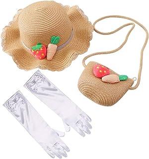 Vegove لطيف الفتيات شاي حزب سترو القبعات الفاكهة الأميرة اللباس قبعة مع محفظة وقفاز