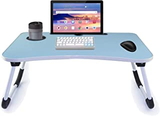 Folding Bed Table Laptop Desk with iPad and Cup Holder Adjustable Lap Tray Notebook Stand Foldable Portable Standing Desk ...