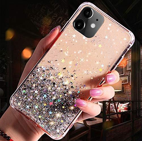 QPOLLY Coque Compatible avec iPhone 11, Transparent Paillettes Étoile Bling Glitter Fille Femmes Coque Ultra Mince Silicone TPU Souple Gel Bumper Crystal Clear Antichoc Housse Étui,Vert