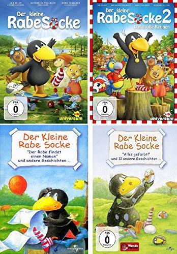 4 DVDs - Der kleine Rabe Socke (2 Kinofilme+ findet einen Namen+alls gefärbt…und andere Geschichten) im Set - Deutsche Originalware [4 DVDs]