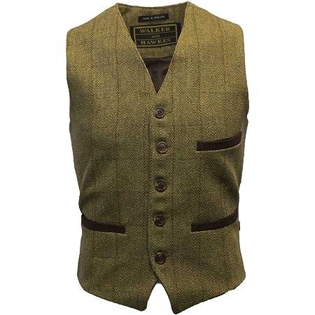 Walker & Hawkes - Mens Tweed Waistcoat Formal Teflon Dress Gilet - Light Sage - Large