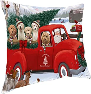 Doggie of the Day Christmas Santa Express Delivery Goldendoodles Dog Family Pillow PIL76512 (14x14)