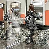 RUNS 120 * 200cm Mampara De Protección Banner Enrollable Transparente, En Pie Divisor Pantalla, Mampara para Oficinas...